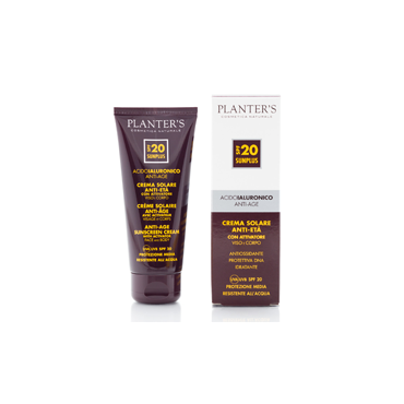 PLANTER'S - Crema Solare con Attivatore SPF20 all'Acido Ialuronico 100ml